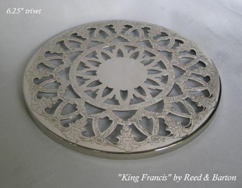 King Francis Reed & Barton silverplated and glass trivet