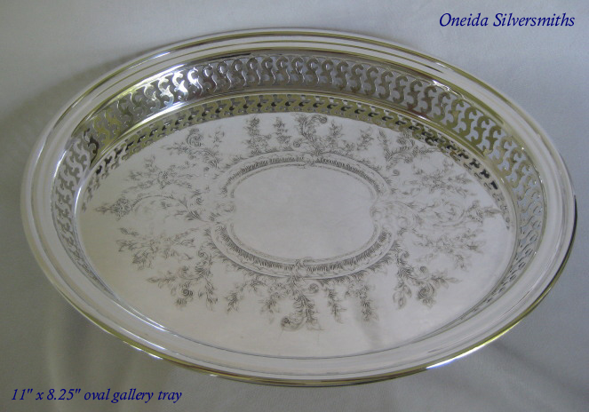 International silverplated round gallery tray