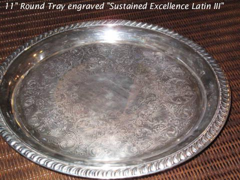 Silverplated Round 11 inch Latin trophy tray