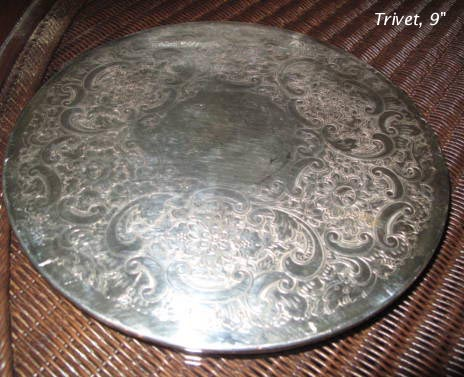 Silverplated trivet 9 inches