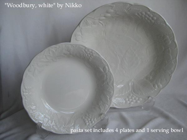 Woodbury White by Nikko Ceramics pasta set